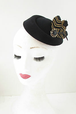 Black Gold Feather Pillbox Hat Fascinator Vintage Races Headpiece 1940s 20s 412 4