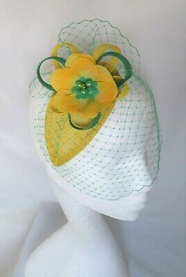Canary Daffodil Yellow & Emerald Green Fascinator Headpiece Wedding Ascot Races 4