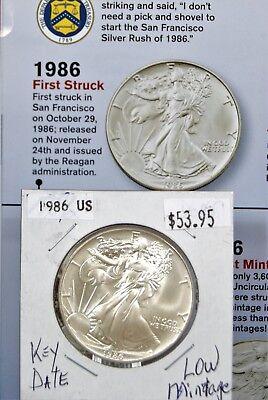 1986 1 oz Silver American Eagle BU Coin $1 Dollar Uncirculated Mint First Year 8