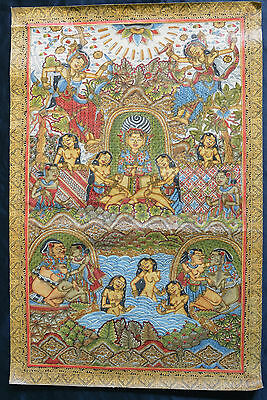 Old Traditional Kamasan Balinese Erotico Religious Mythical Painting On Cloth