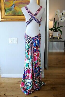 CACHE Sexy Back Beaded, Sequined & Pleated Trained Multi-color Party Dress sz 10 4