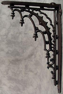 2 ARCHITECTURAL GOTHIC RENAISSANCE Cast Iron SHELF WALL CORNER BRACKETS Brown 3
