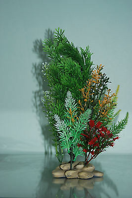 Aquarium Plants Pebble base 10cm Base and 30 cms High Greens & Red in Colour 2
