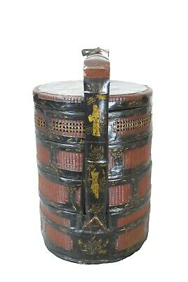 Bamboo Food Basket with Hand Painted Handle 3