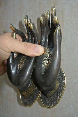 2 BUDDHA DOOR handle solid age brass antique old style HAND fingers 20cm B 2