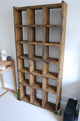 Pigeon holes industrial rustic bookcase reclaimed wood factory salvage gplanera 8