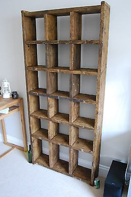 Pigeon holes industrial rustic bookcase x3 reclaimed wood gplanera 7