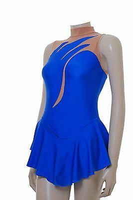 Skating Dress  - ROYAL BLUE LYCRA / BODYSTOCKING  SKATE/DANCE DRESS