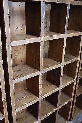 Pigeon holes BOOKCASE 1 col + 3 col industrial rustic salvage wood gplanera 6