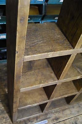 Pigeon holes industrial rustic bookcase x3 reclaimed wood gplanera 4