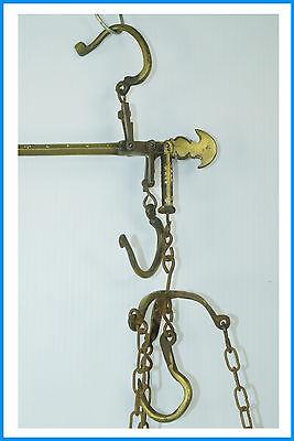 Antik Steelyard Balance Beam Messing Kupfer Hänge Waage With 2 Pfannen und Arm 3