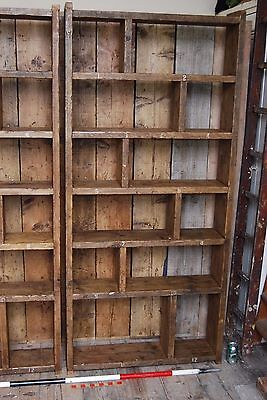 Pigeon holes ZIG ZAG industrial rustic bookcase wood factory salvage gplanera 3