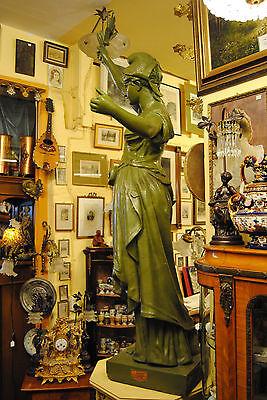 Original Louis Gasne Paris Marianne France Gußeisen 19.Jh. Skulptur Höhe 188 cm 10