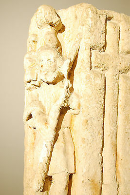 330 - 1204 A.d. Byzantine Christian Sandstone Carving Of Baby Jesus And Shepard 3
