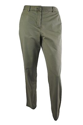 Ex Marks and Spencer Indigo Cotton Khaki Turn-up Crop Chino Trousers 8-20 W2.4