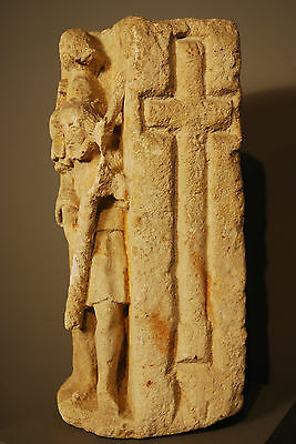 330 - 1204 A.d. Byzantine Christian Sandstone Carving Of Baby Jesus And Shepard 8