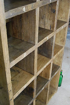 Pigeon holes industrial rustic bookcase x3 reclaimed wood gplanera 8