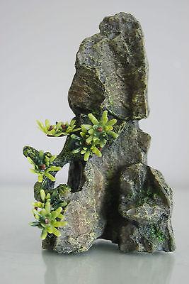 Aquarium Medium Detailed Rock Pinnacle with Plants Decoration 10 x 5.5 x 16 cms 2