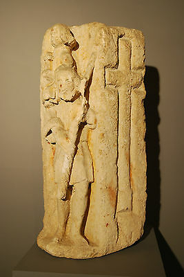 330 - 1204 A.d. Byzantine Christian Sandstone Carving Of Baby Jesus And Shepard 2