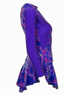 Skating Dress -Purple Lycra top /Purple Multi Hologram dress Skater Omega