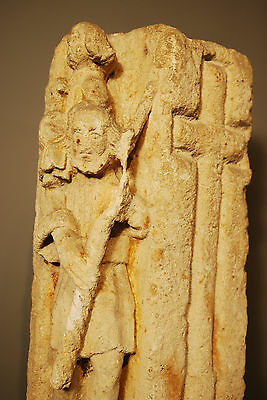330 - 1204 A.d. Byzantine Christian Sandstone Carving Of Baby Jesus And Shepard 5