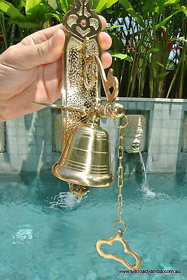 Front Door Bell pull chain heay brass POLISHED vintage style 26cm screw outdoor 6