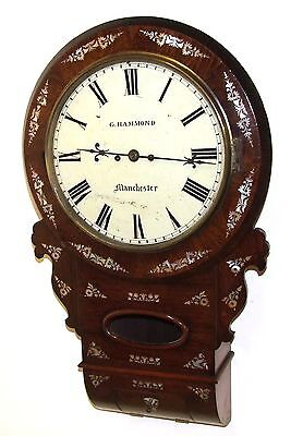 Antique ROSEWOOD & Mother of Pearl TWIN Fusee Drop Dial Clock HAMMON MANCHESTER 2