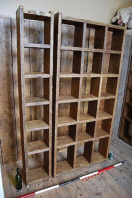 Pigeon holes BOOKCASE 1 col + 3 col industrial rustic salvage wood gplanera 3
