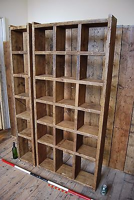 Pigeon holes BOOKCASE 1 col + 3 col industrial rustic salvage wood gplanera 2