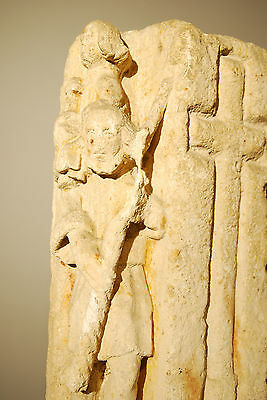 330 - 1204 A.d. Byzantine Christian Sandstone Carving Of Baby Jesus And Shepard 4