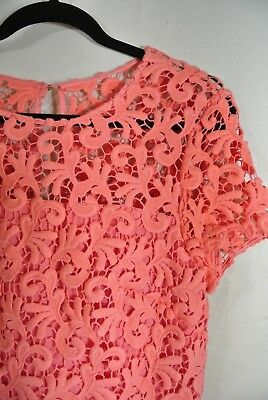 9bf65787a262 ... NEW St. John Embroidered Lace Fit and Flare Dress in Coral - Size 8 7