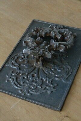 RARE LARGE Antique Victorian Cast Iron Door Knocker Original Patina Hardware 5
