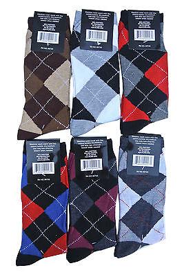 12 Pairs New Cotton Men's Lords Argyle Style Dress Socks Size 10-13 Multi-color 11