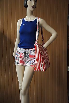 Jeans Shorts newspapercolumn print hotpants 90er TRUE VINTAGE 90s trousers white