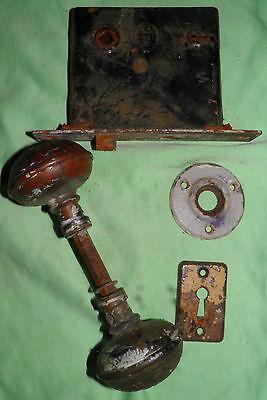 Antique Eastlake Brass Door Knobs Orbin Hardware Locksets Victorian BIN Save $$ 9