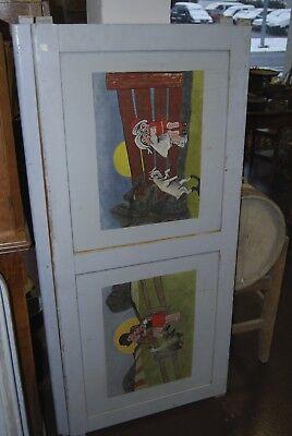 Lit bébé vintage années 50. ( Peinture d'enfants et animaux burlesques ) 6