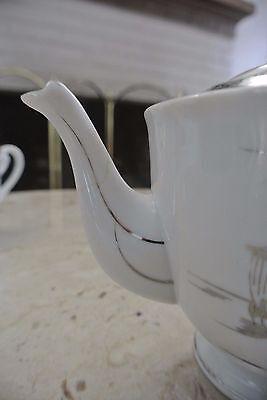 Kutani NS China Hand Painted Creamer, Sugar, Coffeepot and 2 Cups Silver Design