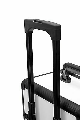 2 in 1 Rolling Makeup Case Aluminum Hair Stylist Train Trolley 4 Wheel Organizer