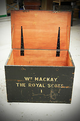 SET OF 2 Antique Early 20th Century Military Royal Scots Wooden Chest Trunk 4