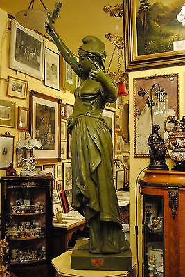 Original Louis Gasne Paris Marianne France Gußeisen 19.Jh. Skulptur Höhe 188 cm 3
