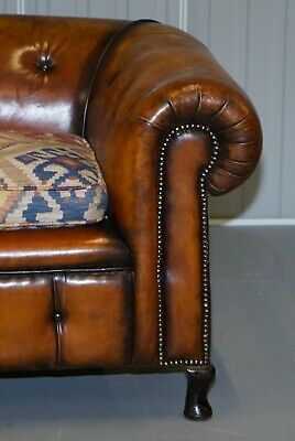 Pair Of Restored Victorian Gentleman Club Chesterfield Leather Sofas Kilim Seats 11