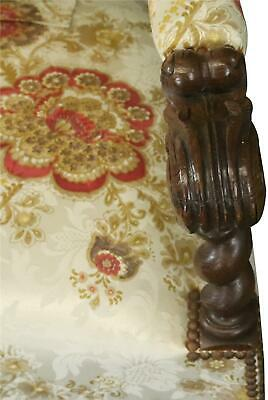 Settee Renaissance Hunting French Antique 1880 Carved Oak  Floral Uph 6