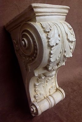Pair Antique Finish Shelf Acanthus leaf Wall Corbel Sconce Bracket Vintage 6