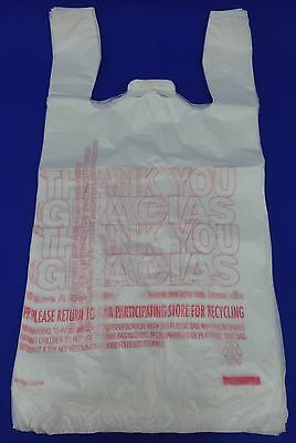 "THANK YOU PLASTIC BAGS 11.5/"" x 22/"" 400 PER BOX W// GRACIAS RECYCLED MATERIALS"