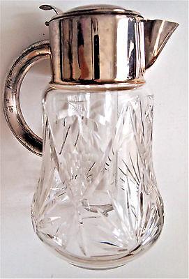 VTG W. Germany Cocktail Cut Glass Claret Jug/ Cooler Inside Silver plated Collar 2