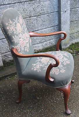 Superb Victorian Walnut Tapestry Armchair Very Clean Delivery Available 3