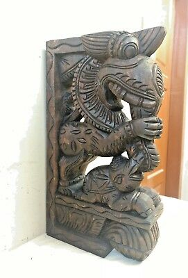 Wall Wooden Bracket Corbel Pair Temple Yalli Dragon Statue Sculpture Home Decor 5