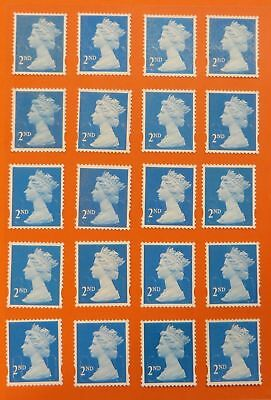100 Genuine 2nd Class Stamps Unfranked Off Paper WITH ORIGINAL GUM Self-Adhesive 2