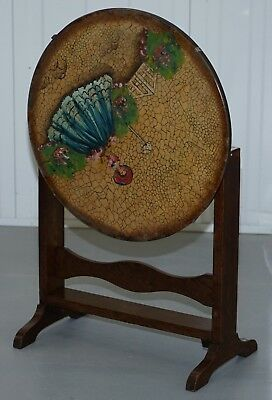 Rare English Oak Tilt Top Side Table With Hand Painted Picture Glass Case Lovely 11
