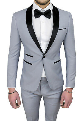Vestiti Eleganti Uomo Grigio.Abito Uomo Diamond Raso Grigio Sartoriale Completo Vestito